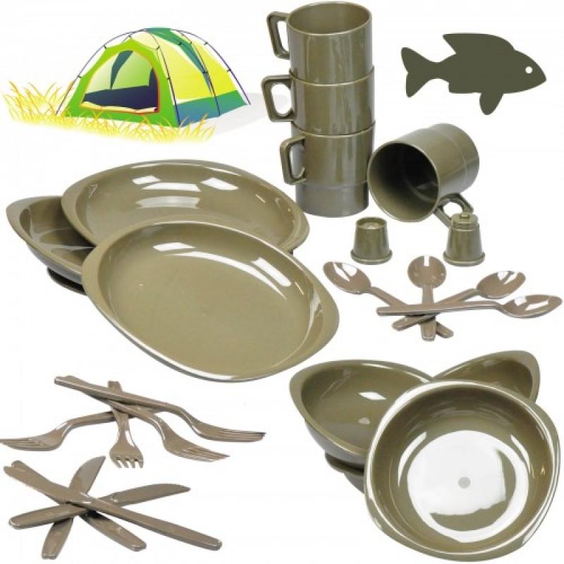 set piatti posate da campeggio